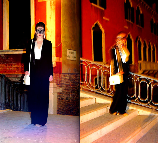 Sarah Louise River Island Leather Lapel Blazer White Bag Monochrome Tux Style Jumpsuit Venetian Mask 1920s Art Deco Earrings Asos Gold Shoes Venetian Nights Lookbook