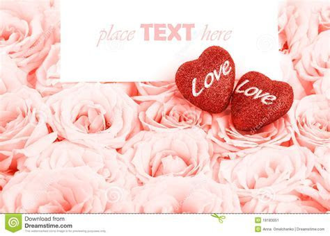 Beautiful Pink Roses With Gift Card & Hearts Stock Image