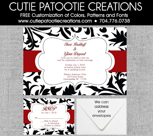Black and White Damask Wedding Invitations with Red - Custom Color Available
