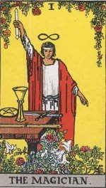 """The Magician tarot card displaying the Hermetic axiom """"As Above, So Below"""""""
