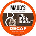 Maud's Dark Roast Decaf Coffee (Decaf Tall Dark & Handsome), Recyclable Decaf Coffee Pods, 100% Arabica California Roasted -100ct