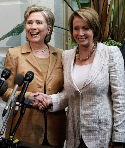 Nancy Pelosi U.S. Speaker of the House Rep. Nancy Pelosi (D-CA) (R) shakes hand with Sen. Hillary Clinton (D-NY) (L) June 25, 2008 on Capitol Hill in Washington, DC. Clinton joined the House Democratic leaders to speak to the media after she spoke to a closed House Democratic Caucus meeting.