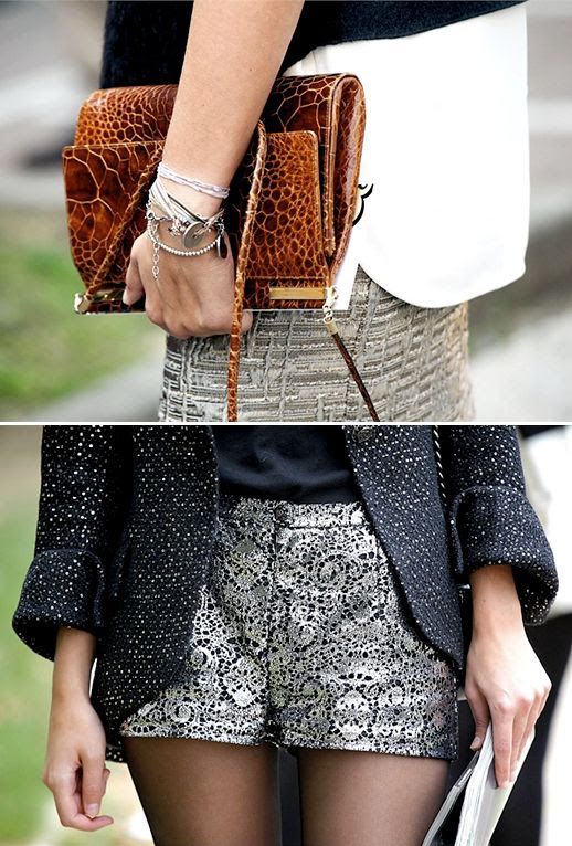 VOGUE ITALIA TWEED BOUCE BROWN TAN CROC CLUTCH METALLIC LACE SHORTS TEXTURE TEXTURED SKIRT SILVER BRACELETS BANGLES NAVY