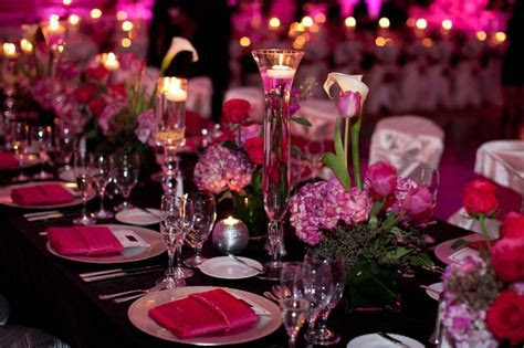 Table setting   Hot Pink and Black Wedding   Pinterest
