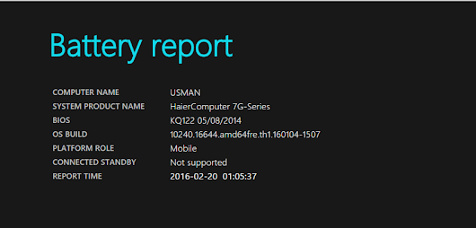 Method to Generate Battery Report in Windows 10 - MUS Tips