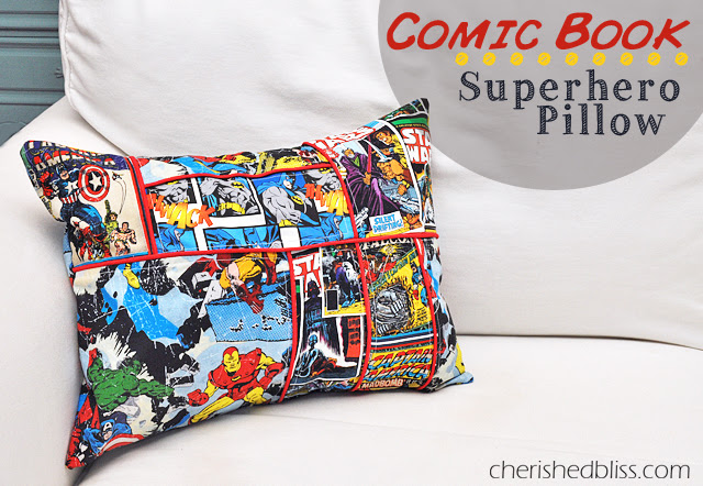 A super awesome Comic Book Superhero Pillow Tutorial via cherishedbliss.com