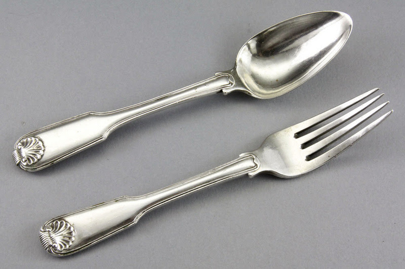 Leopard Antiques Chinese Export Silver Dessert Spoon And Fork Canton