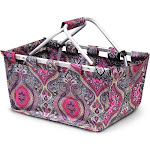 Zodaca Women Collapsible Tote Metal Aluminum Frame Market Basket for Grocery Shopping Picnic - Purple Paisley