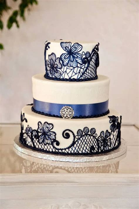 Beautiful Blue Lace Pattern Three Tiered Wedding Cake