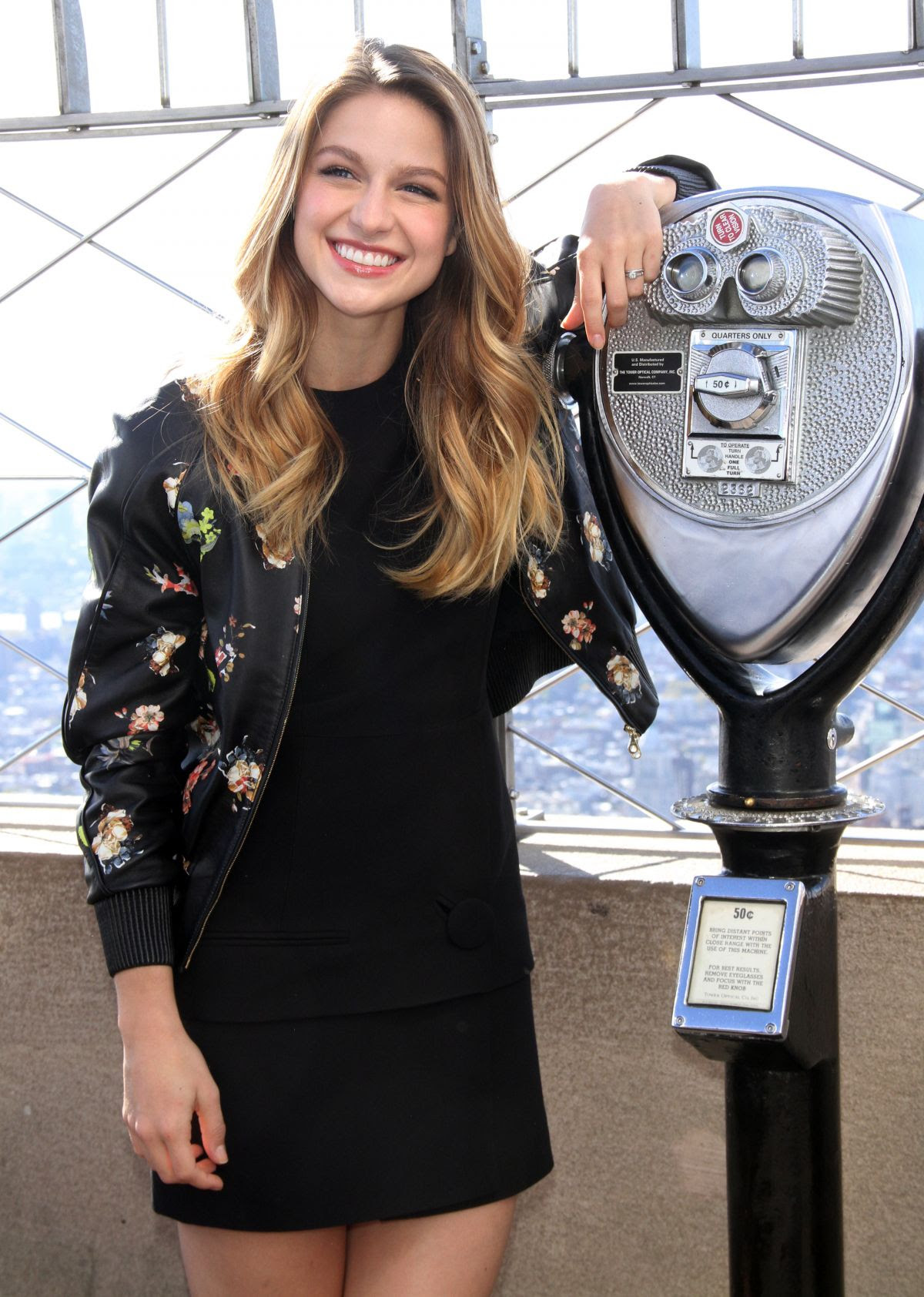 MELISSA BENOIST at Supergirl Promos on the Empire State Building in New York 10/26/2015