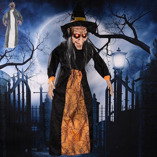 Witch Prop Halloween Hanging Electric Ghost Voice Control Creepy Scary Big Size