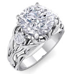 3 1/4 Carat Round Shape Diamond Intricate Vine Engagement Ring in 14K White Gold (7 g) (, SI2-I1), Size 4 by SuperJeweler