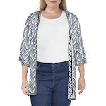 Bellini Womens Plus Chevron Open Front Cardigan Sweater B/W 3X