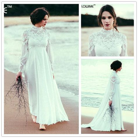 Empire Waist Bohemian Maternity Wedding Dress High Neck