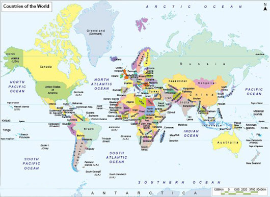 Countries of the World, World Map with Countries