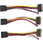Aleratec 15 Pin SATA Power Cable with 4 Pin Socket Connector, 3-Pack Combo