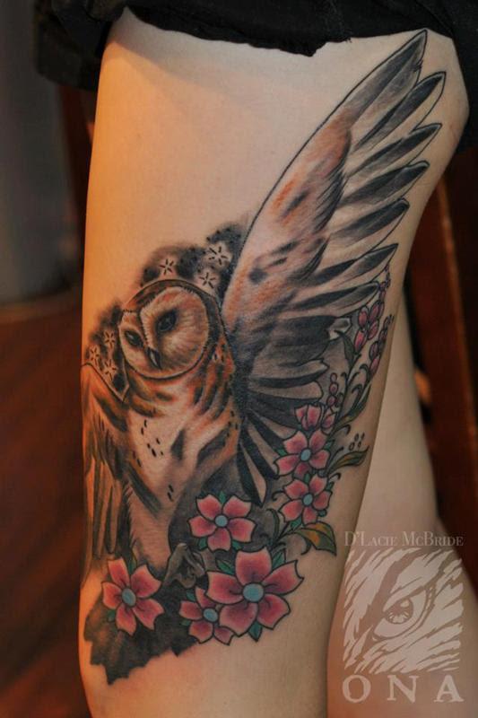 Owl Flowers Tattoo By Dlacie Tattoonow