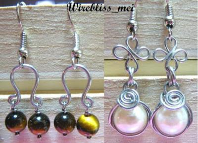 wire wrap pearl, tiger eyes earrings