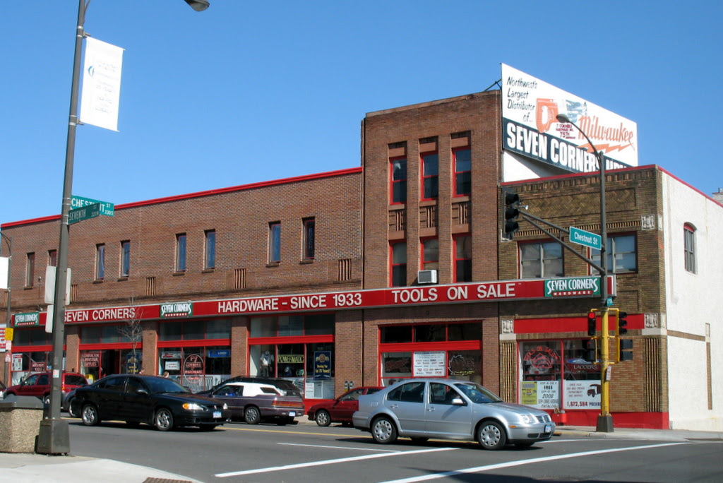 The famous Seven Corners Hardware store, hardware since 1933.