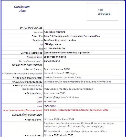 Formato De Curriculum Vitae