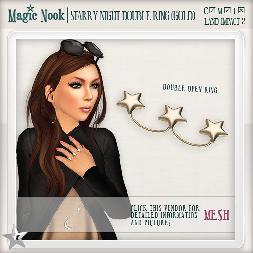[MAGIC NOOK] Starry Night Double Ring (Gold) MESH