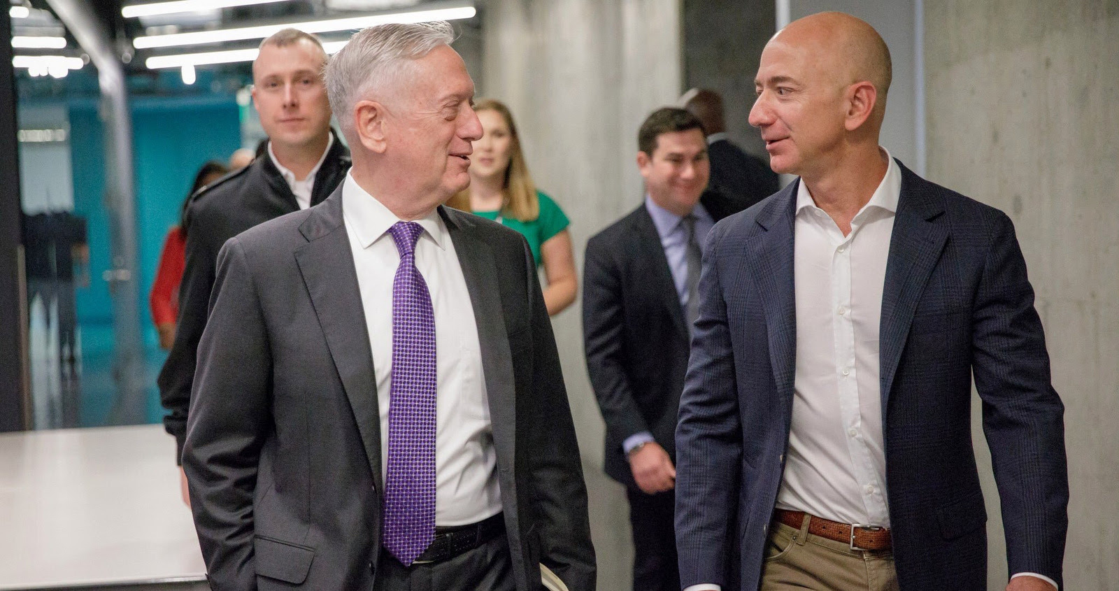 Defense Secretary James Mattis chats with Amazon founder Jeff Bezos during a visit to west coast tech and defense companies. (Jeff Bezos/Twitter)