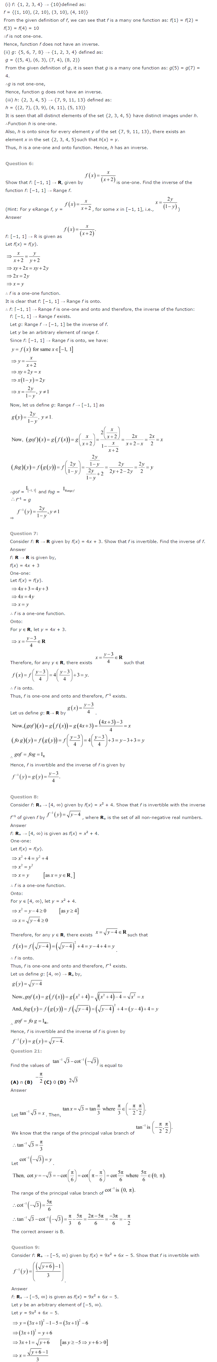 NCERT Solutions For Class 12 Maths Chapter 1 Relations and Functions-6