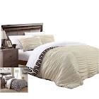 Chic Home Emelia Elissa Pleated Reversible 3 Piece Duvet Cover Set King & Queen Beige