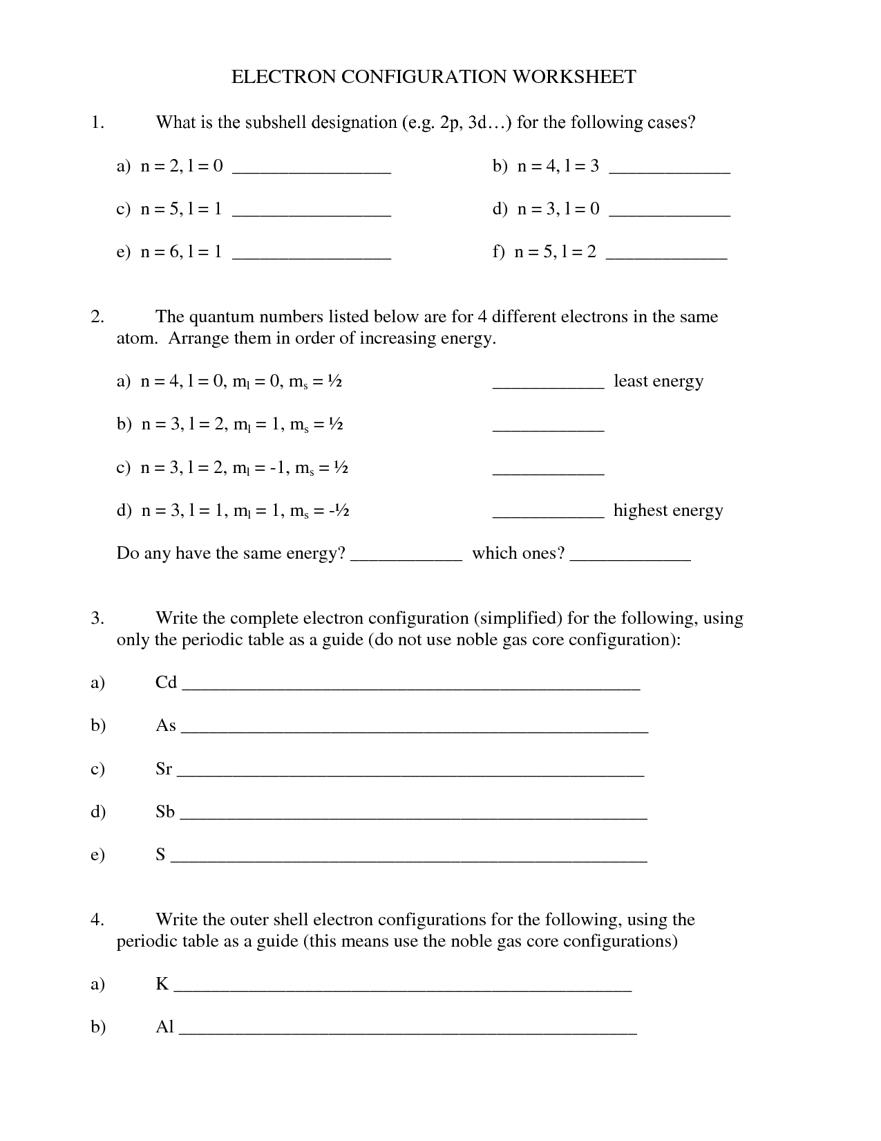 87 ELECTRON CONFIGURATION WORKSHEET WITH ANSWERS ...