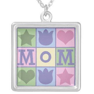 Mom Quilt Square Necklace zazzle_necklace