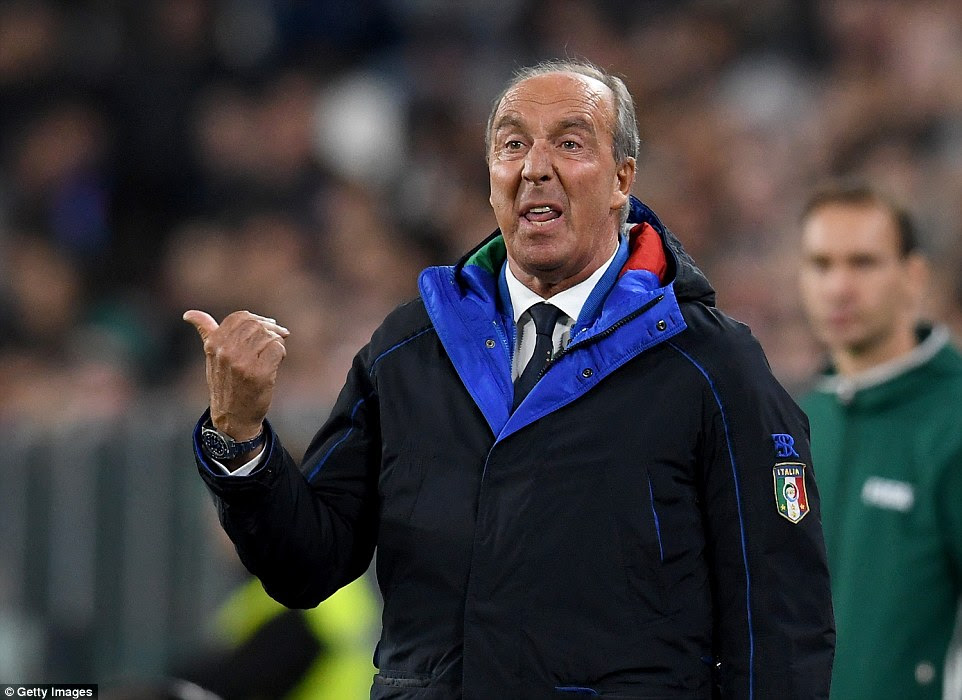 New Italy managerGian Piero Ventura gestures from the sidelines during the Group G clash