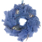 """Northlight 10"""" Regal Peacock Embellished Blue Feather Artificial Christmas Wreath - Unlit"""