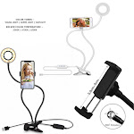 Zunammy ZTLAMP3000BK 3.5 in. LED Personal Live Stream Ring Light Kit with Table Clamp & Phone Holder Black