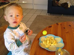 Breakfast of scrambled eggs with cheese