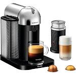 Nespresso - Vertuo Coffee Maker and Espresso Machine with Aeroccino Milk Frother by Breville - Chrome