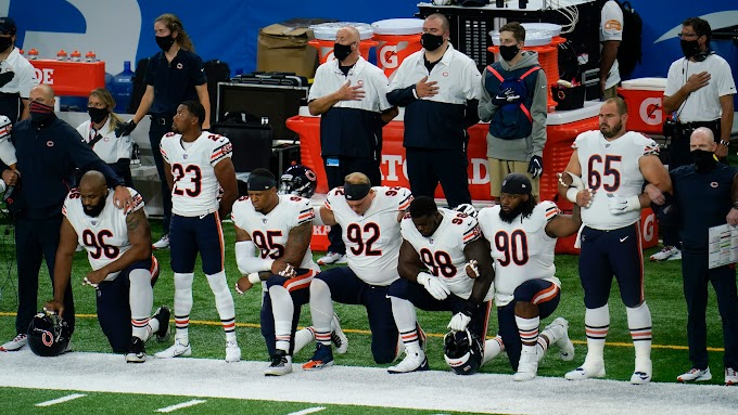 Several NFL teams remain off field for national anthem while some players kneel in NFL Week 1
