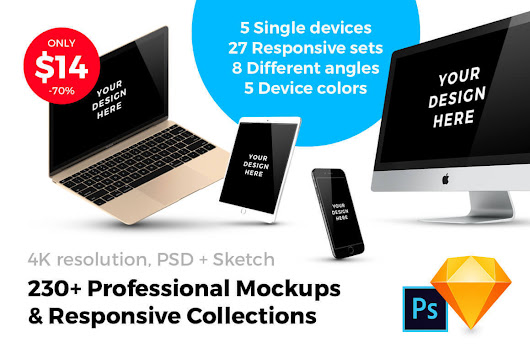 230+ Professional and Customizable Mockups - only $14!