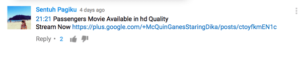 Keep an eye out for YouTube comments that are irrelevant, inappropriate, offensive, or that contain spam.