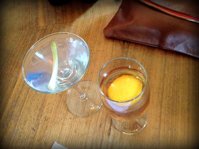 Cocktails at Outerlands - gin on the left, rye on the right.