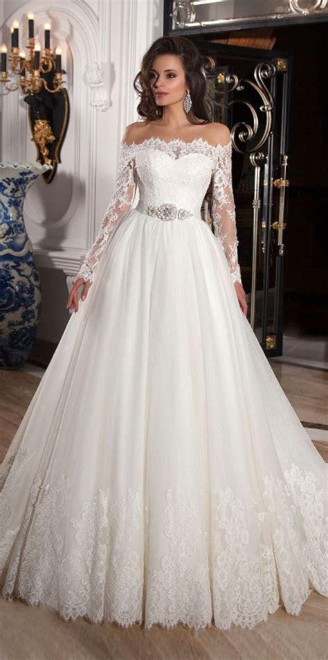 Elegant Tulle Off the Shoulder Neckline Ball Gown Wedding
