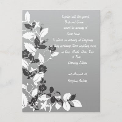 Black and White Wedding Invitation Post Card by allweddingproducts