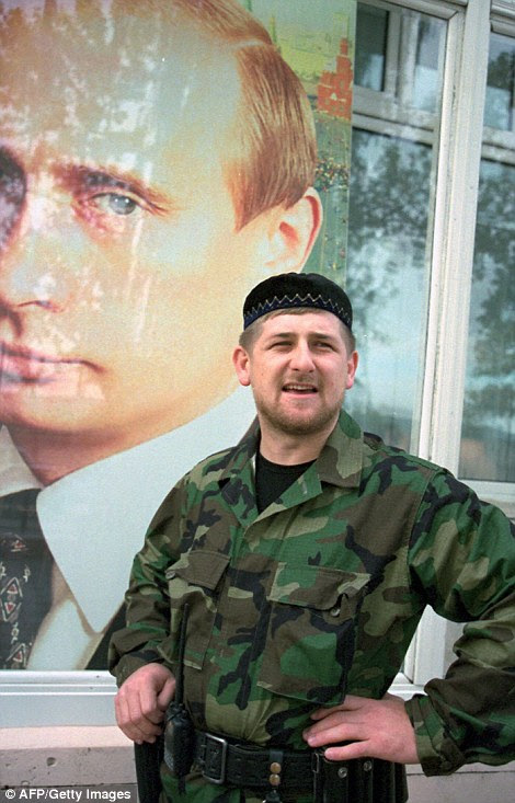 Brutal: Ramzan Kadyrov (right) has ruled Chechnya with an iron fist since being installed by Russian President Vladimir Putin in 2007