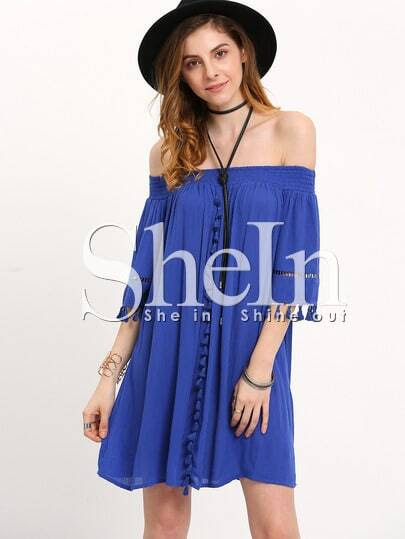 Blue Off The Shoulder Tassel Pleated Dress pictures