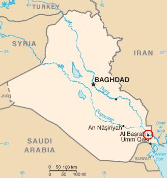 Map of Basrah, Iraq