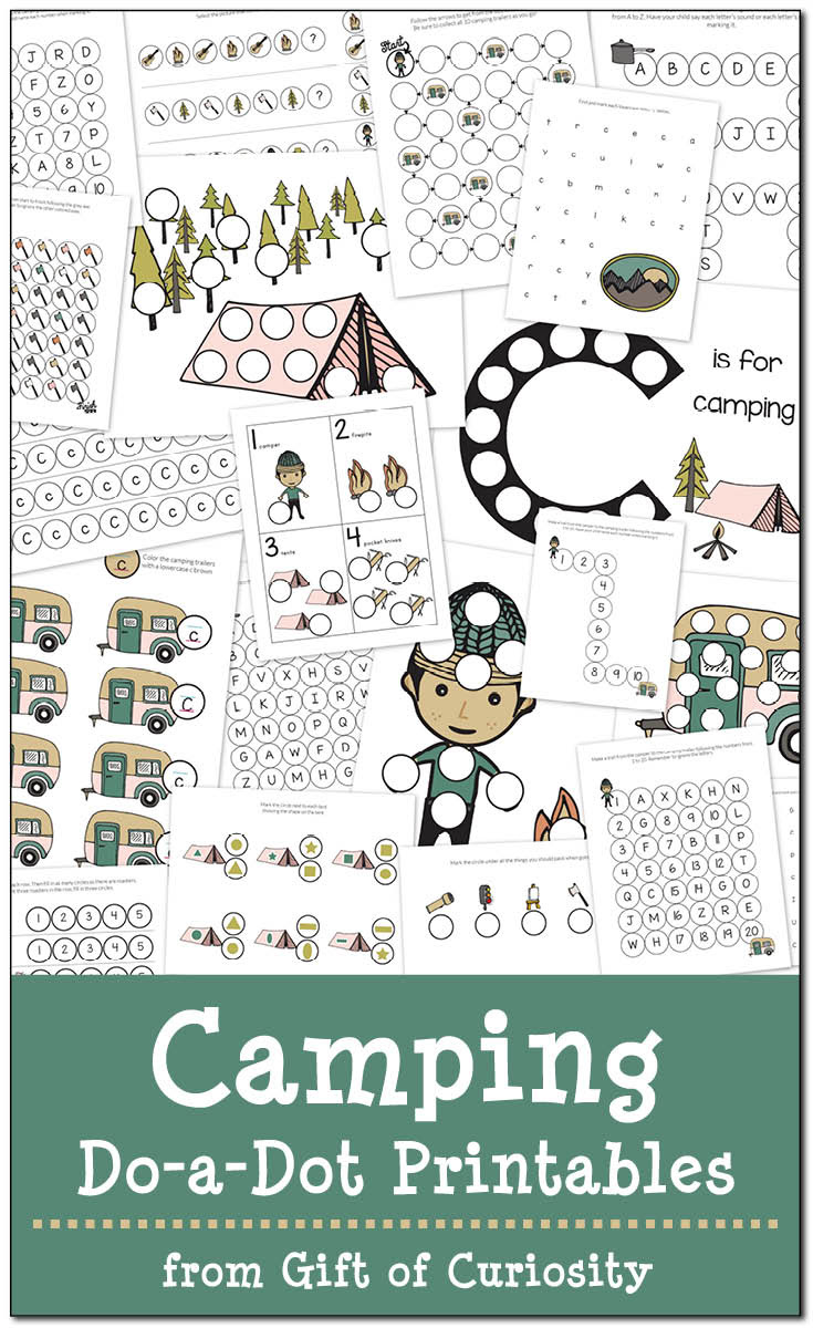Camping Do a Dot Printables Gift of Curiosity