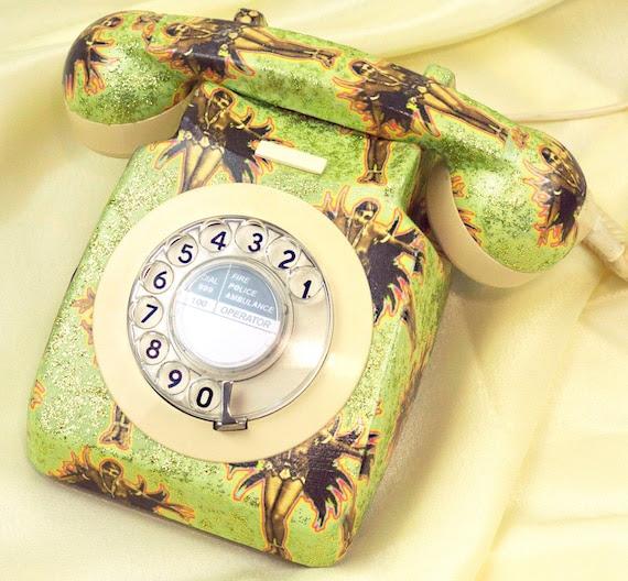 Unique Josephine Baker Glitzed Upcycled Vintage Rotary Phone FULLY WORKING