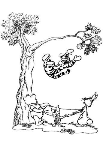 Dibujo De Tigger Cayendo De Un árbol Para Colorear Dibujos Para