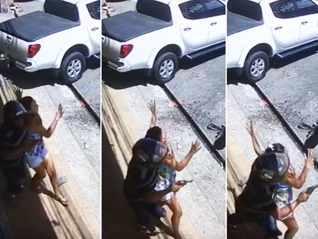 Na fuga, um dos criminosos fez uma mulher de refém (Foto: Reprodução )
