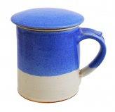 Tisaniera in Gres con Infusore - Bianco Azzurro