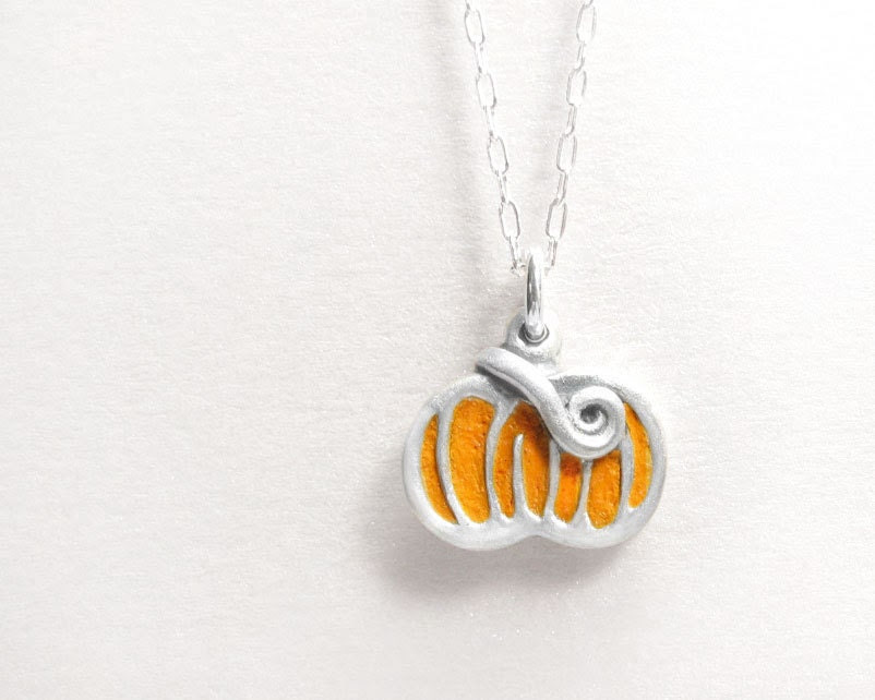 Pumpkin necklace - Halloween jewelry - concrete, sterling silver Fall harvest charm - lulubugjewelry